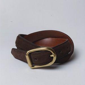 COACH Suede Brown Bramble Belt Brass Buckle